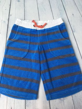 Mini Boden blue/black striped towelling shorts age 5-6